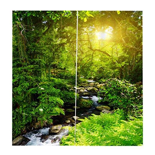 Baoblaze 2er-Set Blumenwand Vorhang Schal Gardinen Kräuselband für Wohnzimmer Schlafzimmer, Auswahl - Sonniger Wald