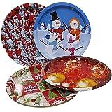 Land-Haus-Shop® Schickes Weihnachtsteller SET, 4x Weihnachts Advent Teller Metall 32cm, 4 Design