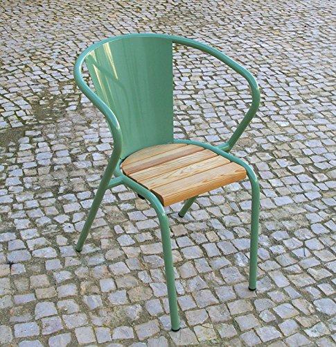 Terassenstuhl Gartenstuhl Metall Hellgrün Mit Holzlattung | Designklassiker  Aus Lissabon | Robust Wetterfest Stapelbar U2026