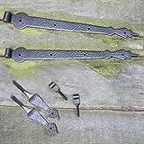 Antikas - Türbänder geschmiedet 2 Tor Scharniere Türbänder Türband + Aufhängung Tor 50 cm