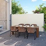 Songmics Seitenmarkise 300 x 200 cm (B x H) Markisenstoff aus Polyester 280 g/m² 2 Montagearten Beige GSA200E