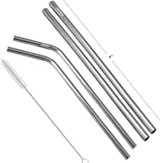 Prisha India Craft Eco-Friendly Stainless Steel Drinking Straws (2 Pcs Bent Straw + 2 Pcs Straight Straw) | Length 8.00 INCH | Set of 4