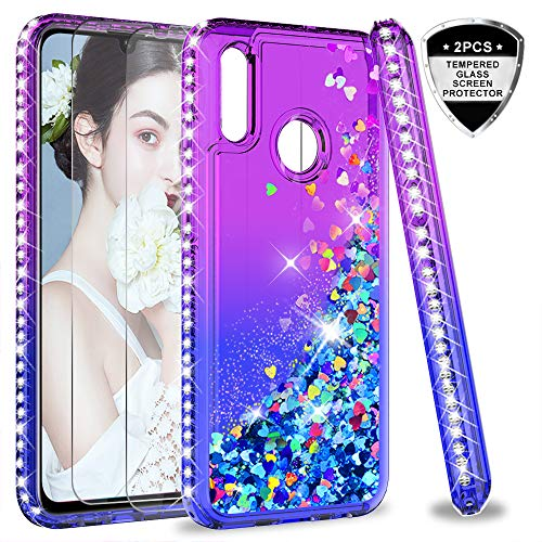 LeYi Hülle Huawei P Smart 2019 Glitzer Handyhülle mit Panzerglas Schutzfolie(2 Stück), Diamond Cover Bumper Schutzhülle für Case Huawei P Smart 2019 / Honor 10 Lite Handy Hüllen ZX Purple Blue -