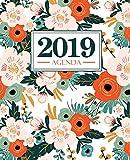 Agenda 2019: 19x23cm : Agenda 2019 semainier : fleurs roses orange et vertes sur blanc 6125