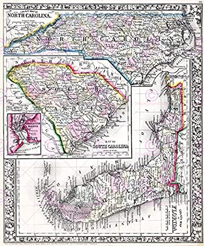 MAP 1864 MITCHELL CAROLINAS FLORIDA COUNTIES POSTER PRINT