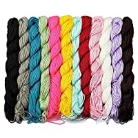 LolliBeads (TM) 12 Pcs of 24 Meters (80 Feet) 1 mm Nylon Beading String or Knotting Cord, Assorted Multi Color