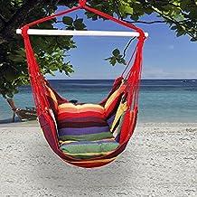 Kinlo® Silla hamaca colgante para de jardín al aire libre Balcón Patio - Rojo