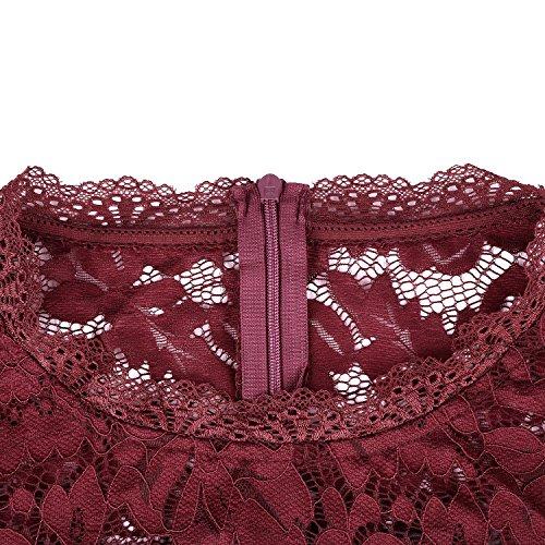 Vessos Damen SpitzeKleid Cocktailkleider Abendkleider knielang elegant Partykleid mit O-Neck Kurzarm Spitze Vintage festlich Hochzeit Weinrot