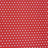 Baumwollstoff rot mit weißen Punkten groß Dekostoff