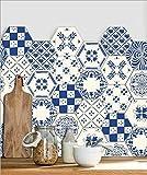 JY ART Y Wand-Aufkleber Küche Deko Badezimmer-Gestaltung - Küchen-Fliesen überkleben - Dekorative Bad-Gestaltung - Fliesen-Aufkleber - Blau- LB008, Sets of 10 Pieces