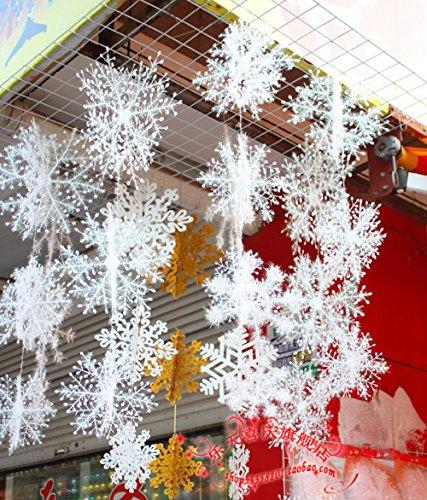 Butterme 30PCS Weiße Funkelndes Schneeflocke Schnur Aufkleber Fenster Clings Abziehbild hängendes Weihnachts Feiertags Ausgangsdekor (22CM) (Aufkleber Schneeflocke Fenster)