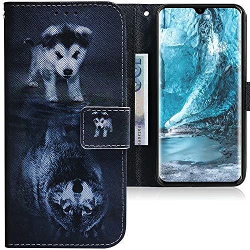 CLM-Tech Hülle kompatibel mit Huawei P30 - Tasche aus Kunstleder - Klapphülle mit Stand & Kartenfächern, H& Wolf schwarz weiß
