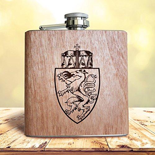Schreiben Wappen (Steiermark Holz Flachmann, 6oz - ca. 180ml | Mit graviertem steirischem Wappen. Geschenk für Patrioten)