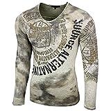 Rusty Neal Herren Longsleeve T-Shirt Langarmshirt Langarm Sweatshirt 10135, Farbe:Khaki;Größe:S