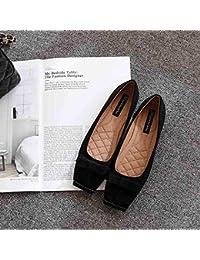 HhGold Zapatillas de Deporte cuadradas Bombas Planas Planas Bombas Planas Zapatos de Mariposa de Ante con