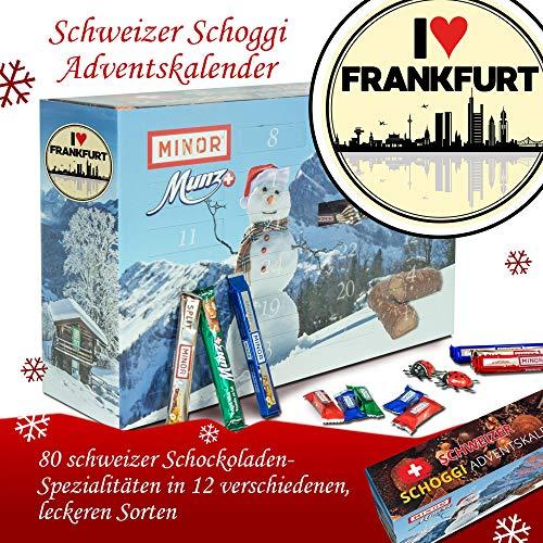 I love Frankfurt | Adventskalender Schweizer Schoggi | Advent Kalender für Männer Advent Kalender Frauen Advent Kalender Frau Advent Kalender Munz & Minor Advent Kalender schoki