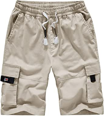 YSENTO Mens Cotton Cargo Shorts Outdoor Work Combat Lightweight Casual Chino Beach Shorts