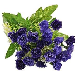 Soledì- 1 Mazzo di 25 Grofani, Fiori Artificiali, Fioritura in Seta Bouquet Decorazione per Cerimonia Matrimonio Party Casa (Blu)