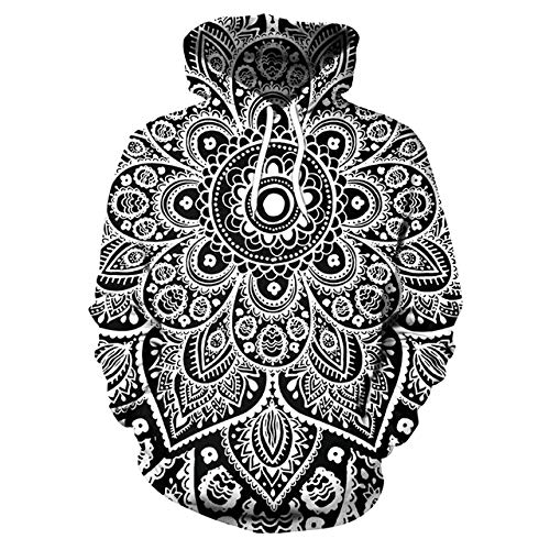 GHWEIY Frühling/Herbst Männer Hoodie Mandala Flower Print Hoodies Männer Lose Hooded Sweatshirt Streetwear (Mandala-prints)