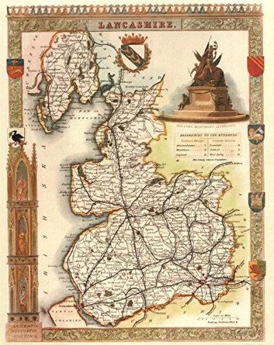 Antike Karte Lancashire-- - Karte, 50.80 x 40.64 cm - County England-antik-karte
