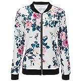 Shujin Damen Herbst Elegant Camouflage Jacken mit Blumen Printed Bomberjacke Straße Pilotenjacke Übergangsjacke mit Reißverschluss Outwear Fliegenjacke Kurz