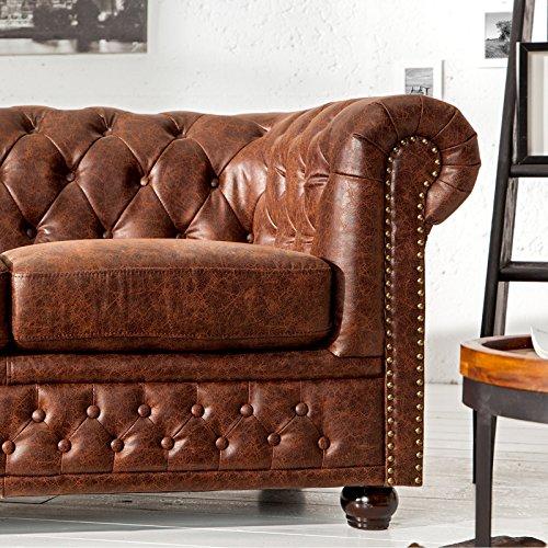 Chesterfield Desgin 3 Sitz Sofa Manchester | 200x70x85 cm, Spaltleder, Vintage Braun | Dreisitzer