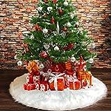 Tenrany Home Reine Weiße Plüsch Weihnachtsbaum Rock, Groß Kunstfell Weihnachtsbaumdecke Christbaumständer Teppich für Weihnachten Neujahr Party Dekoration (White, 48 inches) -