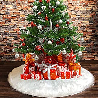 Tenrany Home Falda de Árbol de Navidad, 48 Pulgadas Blanco Peluche Christmas Tree Skirt Felpa Base de Árbol de Navidad para la Navidad año Vacaciones Decoración (78cm)