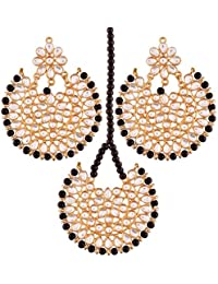 I Jewels Gold Plated Kundan Earring Set With Maang Tikka For Women (TED14B)