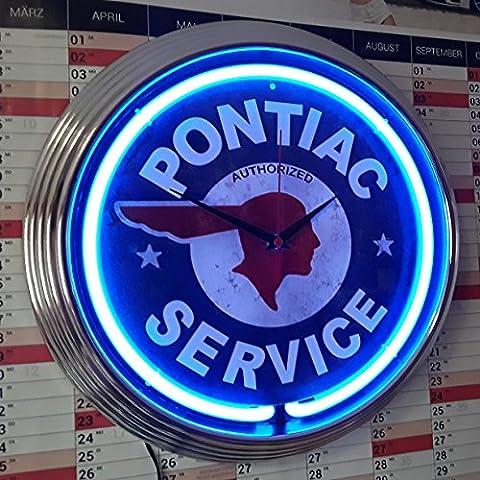Neon Horloge Neon Clock AGED Pontiac Service–Garage sign–Horloge Murale lumineux avec bague Fluo. bleues