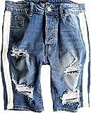 Herren Jeans Short Kurze Hose Destroyed shorts Neu Blau Denim risse Crotch Jogg Schwarz Sommer Pants Sporthose Sweat Freizeithose camouflage shirt bermuda kurz sweatpant shirt caprihose capri cargo (29, Blau - destroyed)