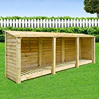 Rutland County Garden Furniture EMPINGHAM WOODEN LOG STORE/GARDEN STORAGE, 11ft WIDE X 4ft HIGH, GREEN, HEAVY DUTY, HAND MADE, PRESSURE TREATED.