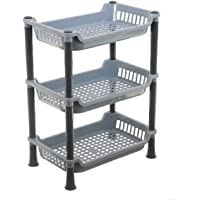 Kuber industries Plastic 3 Layer Multi-Purpose Kitchen Storage Basket Rack (Grey) - CTKTC030660