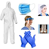 SKYLINA PPE Kit set for Full Body Protection 90 GSM-Non Woven Fabric, Non-Suffocating+Comfortable For Travelling, Free…