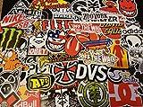 Lot of self-adhesive stickers, brands skate, skateboarding, snowboarding, skiing, rider
