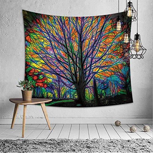 Towinle Wandbehang Hochwertige Wandteppich Tapisserie Psychedelic Wandtuch Hausdeko Bettdecke Strandtuch Tagesdecke Boho Deko (Bunt Baum) (Konversation Sofa)