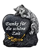 Grabdeko Katze mit Herz Grabstein 14 cm Anthrazit Silber