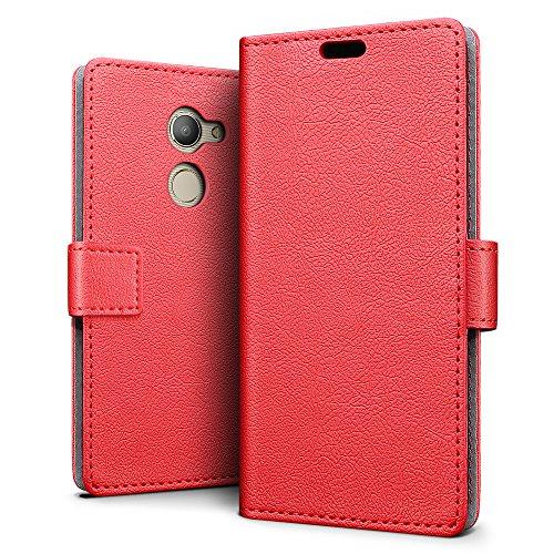 SLEO Vodafone Smart N8 Hülle – Premium Luxuriös PU lederhülle [Vollständigen Schutz] [Kreditkartenfach] Flip Brieftasche Schutzhülle im Bookstyle für Vodafone Smart N8 - Rot