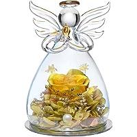 ANLUNOB Forever Rose in Angel Cupola di Vetro Figurine Fiore Artificiale Fiori eterni Galassia Rosa Gialla Regali Unici…