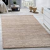 Paco Home Teppich Kurzflor Modern Gemütlich Preiswert Mit Melierung Beige Creme Braun, Grösse:70x140 cm
