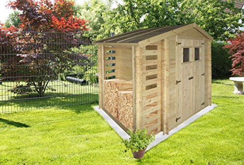 ger tehaus velden 2 56 x 2 00 meter aus 19mm blockbohlen mit kaminholzunterstand von steiner. Black Bedroom Furniture Sets. Home Design Ideas