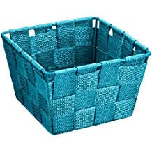 Wenko Adria - Cesta para el baño y el hogar de forma cuadrada, material plástico tejido, de tamaño mini, 14 x 9 x 14 cm, color petróleo