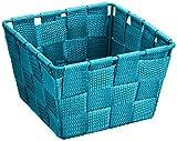 WENKO 20363100 Aufbewahrungskorb Adria Mini Petrol - Badkorb, quadratisch, Kunststoff-Geflecht, Polypropylen, 14 x 9 x 14 cm, Petrol