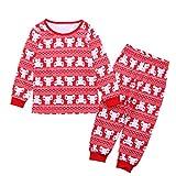 Yiiquan Mädchen Schlafanzug Kinder Nitnightset Langarm Zweiteilige Tier Pyjama Weihnachten Kinderkleidung Rot Größe 6