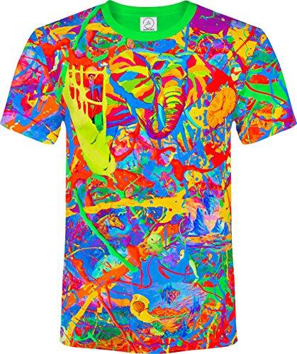aofmoka Elefant Spritzen Farbe Insel Baum Pferd Zeit Fantasie Fluoreszierender Blacklight Neon T-Shirt (Herz Tie-dye-t-shirts)