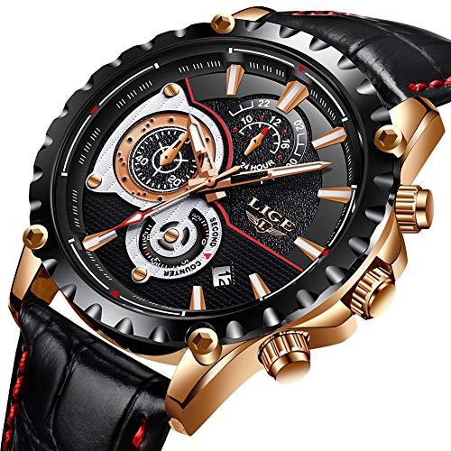 LIGE Hommes Montres étanche Chronographe Sport Analogue Quartz Montre Hommes Mode Décontractée Noir en Cuir Robe d'affaires Montre-Bracelet Homme Horloge