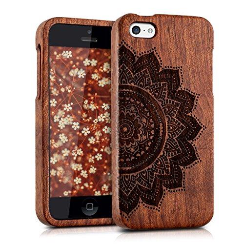kwmobile Coque en bois véritable avec Design Demi-fleur pour Apple iPhone 5C en bois de rose brun foncé