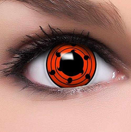 Kostüm Kontaktlinsen Hatake Kakashi - Sharingan Kontaktlinsen Juubi's Mangekyou in rot inkl. Behälter - Top Linsenfinder Markenqualität, 1Paar (2 Stück)