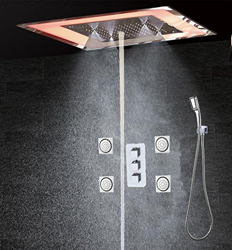 WEITING Massage Dusche Panel mit LED-Dusche-Kopf-Thermostat Duscharmatur Wand befestigter Edelstahl Dusche