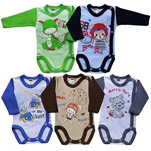 *MEA BABY Unisex Baby Langarm Wickelbody mit Aufdruck 5er Pack. Baby Wickelbody Jungen Baby Wickelbody Mädchen  (62, Jungen)*